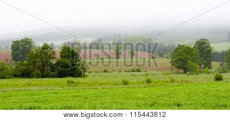 Rolling hills, fields and meadows under foggy low cloud cover,  Greenwood, Nova Scotia.
