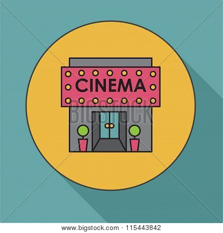 Cinema Building. Flat Vector Illustration Cinema House. Icon