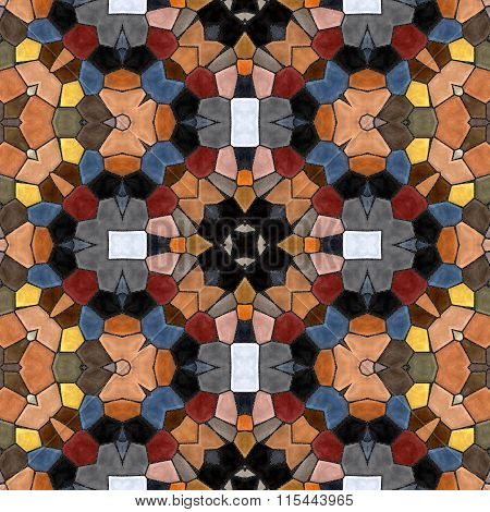 Seamless texture of abstract fabric. Kaleidoscopic tiles. Seamless texture of glass tiles.