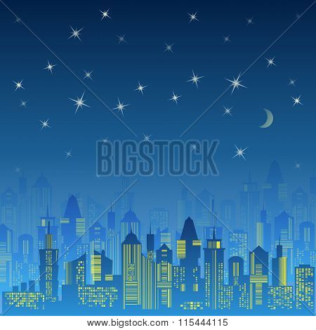 City urban design. Night landscape.