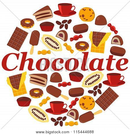 Poster chocolate products. Chocolate, candy and cocoa fruit. Vector illustration