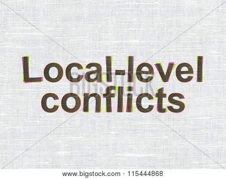 Political concept: Local-level Conflicts on fabric texture background