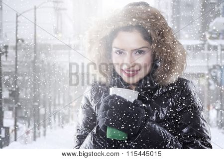 Woman With Winter Coat Enjoy Coffee