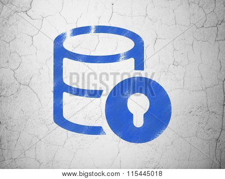 Software concept: Database With Lock on wall background