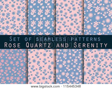 Set Of Seamless Patterns With Flowers. Rose Quartz And Serenity Violet Colors.