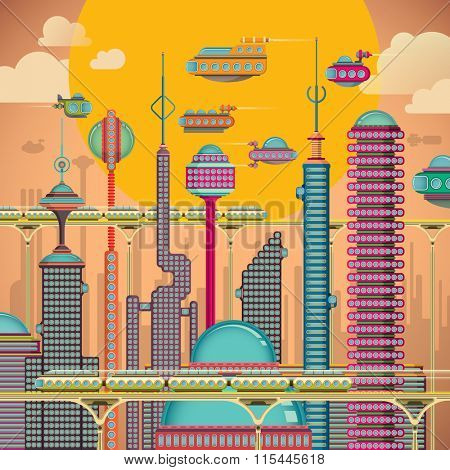 Comic futuristic city. Vector illustration.