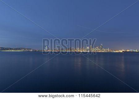 skyline of seattle at night, WA, USA.