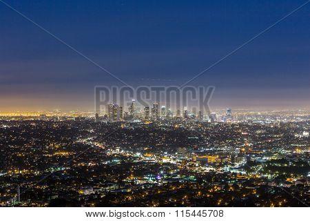 skyline of Los Angeles at night, USA.