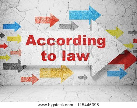 Law concept: arrow with According To Law on grunge wall background