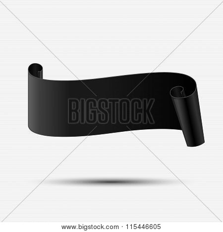 Abstract Black Curved Paper Banner