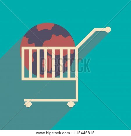 Flat design modern vector illustration icon globe in trolley