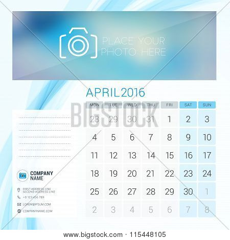 Desk Calendar For 2016 Year. April. Vector Stationery Design Template With Place For Photo, Company