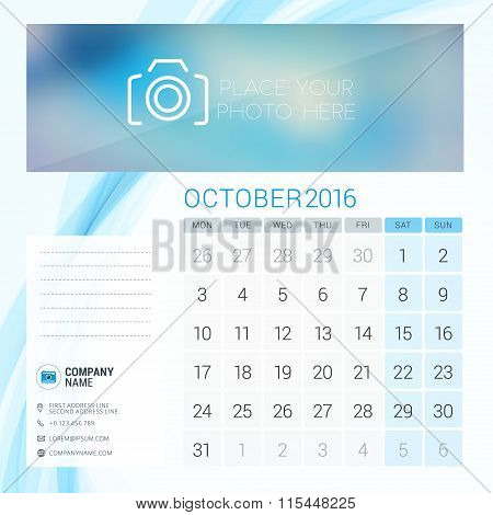 Desk Calendar For 2016 Year. October. Vector Stationery Design Template With Place For Photo, Compan