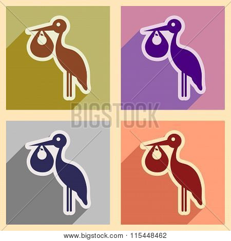 Set flat icons with long shadow Stork and newborn baby