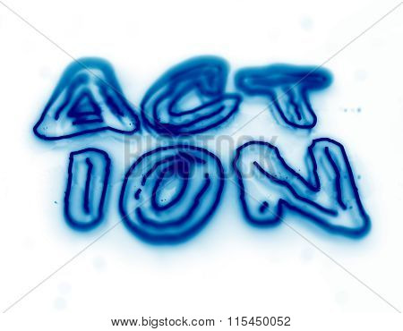 Action blue neon sign isolated on black background