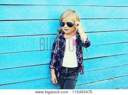 Fashion Kid, Stylish Child Wearing A Sunglasses And Checkered Shirt Standing Over Blue Background, L
