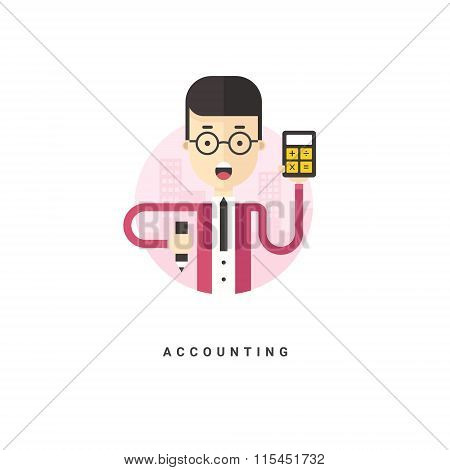 Flat Style Vector Conceptual Illustration. Cartoon Character Accountant Holding Calculator. Accounti