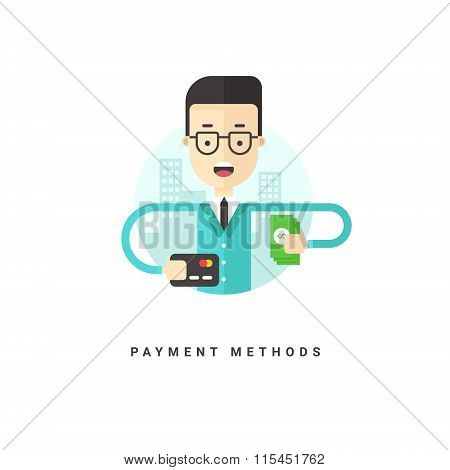 Flat Style Vector Conceptual Illustration. Cartoon Character Businessman Holding Cash And Credit Car