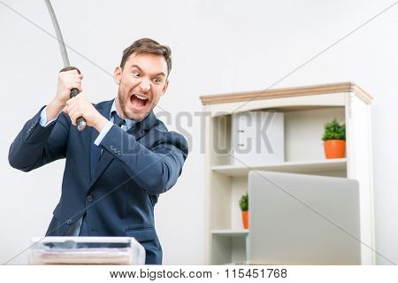 Professional office worker holding sword