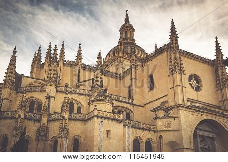 Segovia Cathedral Is A Roman Catholic Religious Church In Segovia, Spain