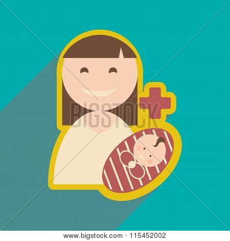 Modern flat icon with long shadow Mother and child