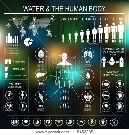Water And Human Body Infographic On Dark Background