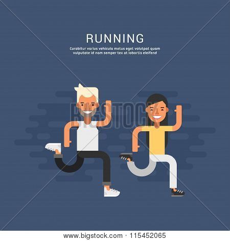 Sport Concept Illustration. Male And Female Cartoon Characters Running Together. Running. Flat Style