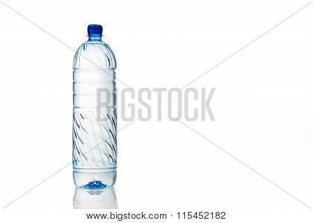 Single Refreshing Mineral Water In Plastic Bottle In White Background