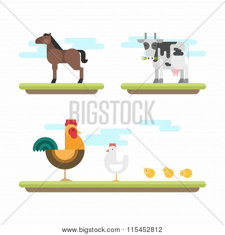 Set Of Cute Flat Style Vector Illustrations. Farm Animals. Horse, Cow, Chicken, Rooster, Chickens