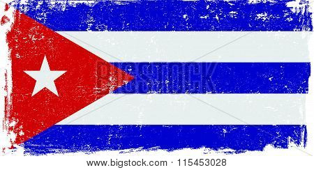Cuba vector grunge flag isolated on white background.