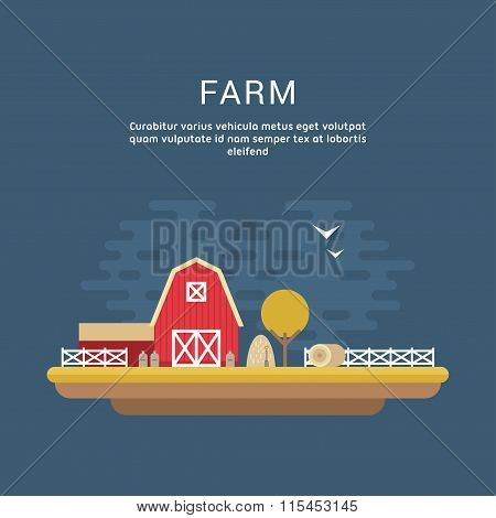 Vector Flat Style Illustration Of Farm Landscape With Farmhouses And Fields On Dark Background