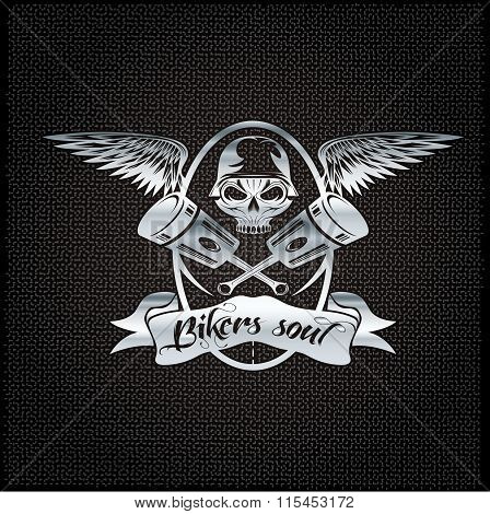 Bikers Soul Silver Crest With Skull,wings And Pistons