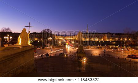 Cityscape Of Torino (turin, Italy) At Dusk, Blurred Motion