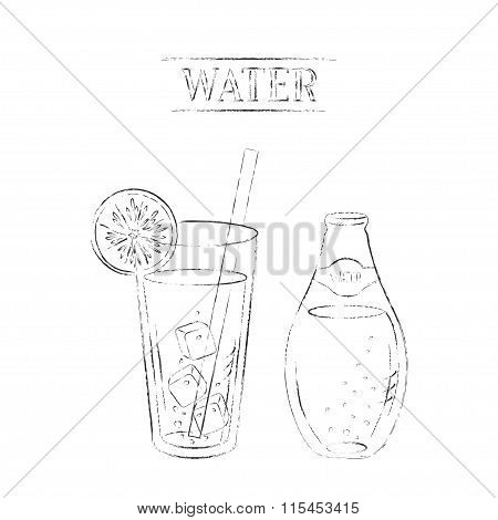 Light Charcoal Sketch Of Mineral Water Bottle And Glass With Lemon Slice And Straw