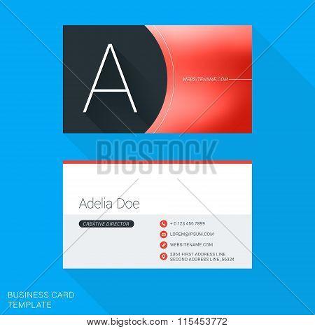 Creative Business Card Template. Letter A. Flat Design Vector Illustration. Stationery Design
