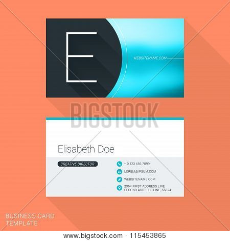 Creative Business Card Template. Letter E. Flat Design Vector Illustration. Stationery Design