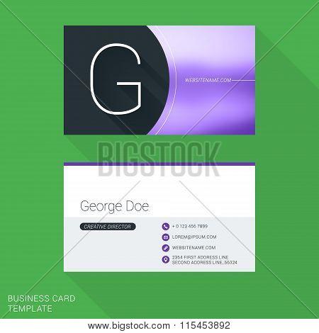 Creative Business Card Template. Letter G. Flat Design Vector Illustration. Stationery Design