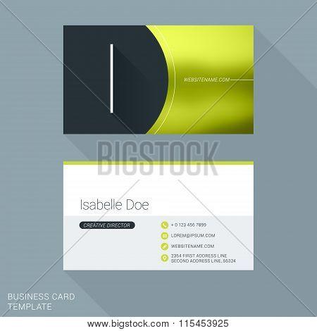 Creative Business Card Template. Letter I. Flat Design Vector Illustration. Stationery Design
