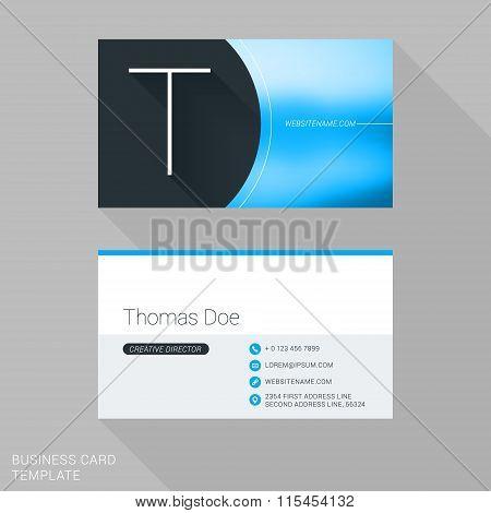 Creative Business Card Template. Letter T. Flat Design Vector Illustration. Stationery Design