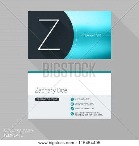 Creative Business Card Template. Letter Z. Flat Design Vector Illustration. Stationery Design