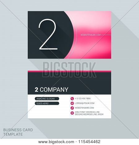 Creative Business Card Template. Number Two. Flat Design Vector Illustration. Stationery Design