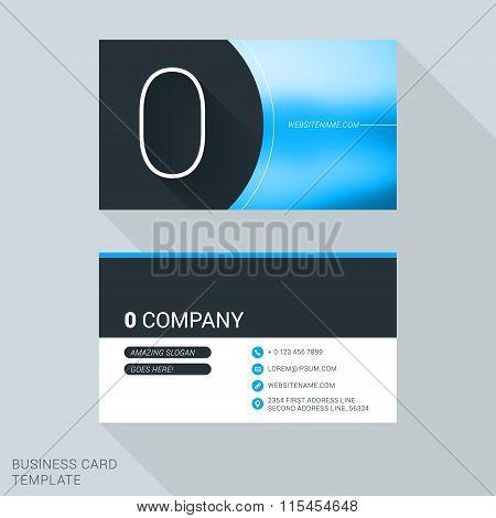 Creative Business Card Template. Number Zero. Flat Design Vector Illustration. Stationery Design