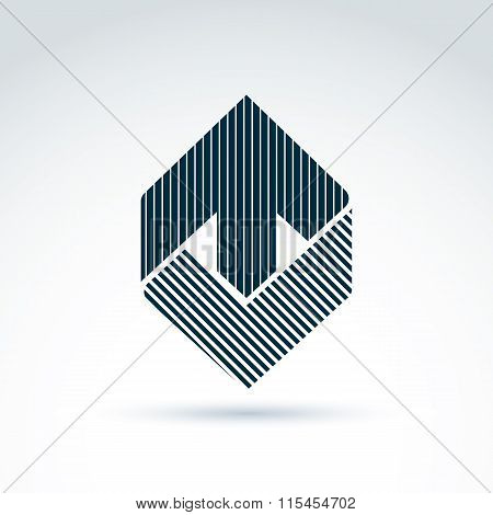 Vector Abstract Design Element With Parallel Stripes. Monochrome Corporate Geometric Symbol, Checkma