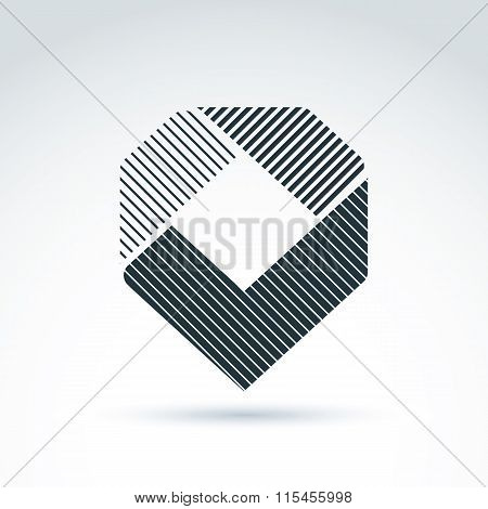 Vector Abstract Design Element With Parallel Stripes. Monochrome Geometric Symbol, Checkmark, Infogr