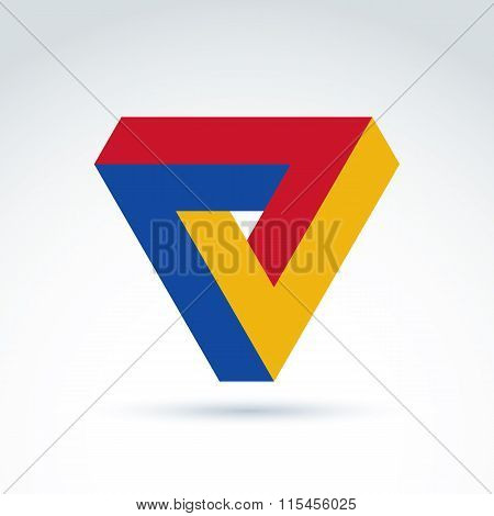 Vector Abstract Triangle Composed From Three Checkmarks. Geometric Colorful Symbol Isolated On White