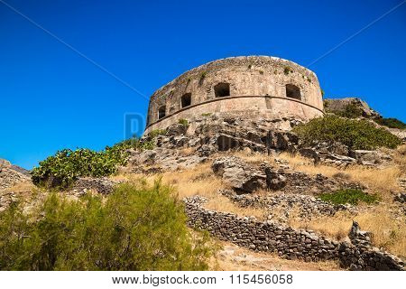 Scenic View Of The Venetian Fortress On The Island Of Spinalonga