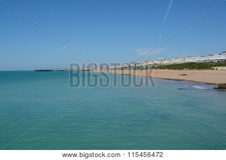 Brighton Beach In Summer. England