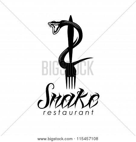 Snake On The Fork Vector Design Template