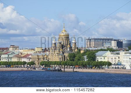 View of the Church of the assumption of the blessed virgin Mary on quay of Lieutenant Schmidt. St. P