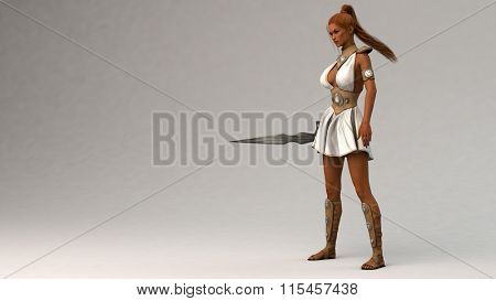 red hair gladiator girl with sword